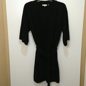 Vince cashmere open cardigan short sleeve belted